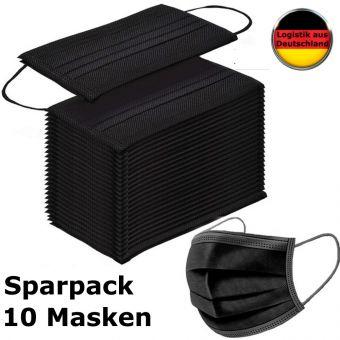 10 St Alltagsmasken Mundschutz Atemschutzmaske SCHWARZ OPMaske Gesichtsmaske Filtermaske