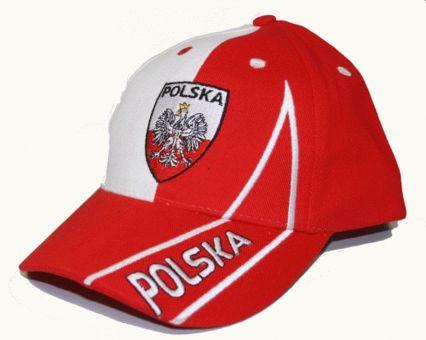 Hilkeys Polen rot weiß Baseballcap mit Wappen bestickt Baseball Cap