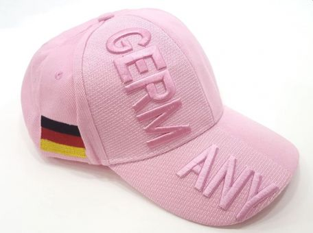 Hilkeys Deutschland Germany rosa Baseballcap bestickt Fancap schwarz rot gold