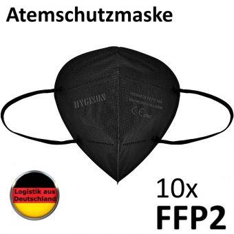 10x Schwarze FFP2 Maske Mundschutz Alltagsmaske Atemschutzmaske CE 2797