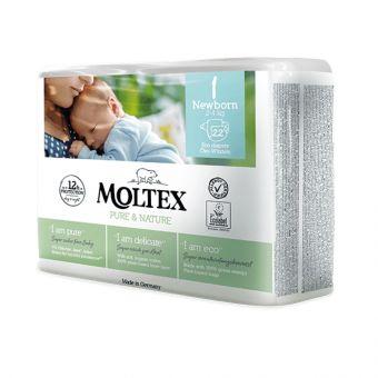 22 St. MOLTEX pure & nature Öko-Windeln Babywindeln NEWBORN Gr 1 (2-4 kg)