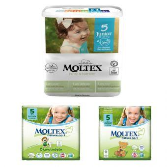 Karton 5x 25 St. MOLTEX pure&nature Öko-Windeln Babywindeln JUNIOR Gr 5 (11-25 kg)