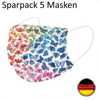 5 St. Alltagsmaske Schmetterling Multicolor Mundschutz OP Maske Gesichtsmaske Einweg 3 Lagig