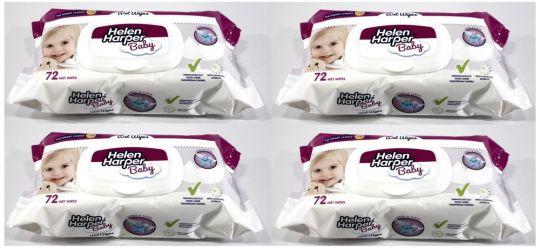 4x 72er Pack HH Feuchttücher Kamille (wiederverschließbarem Deckel) dermatologisch getestet