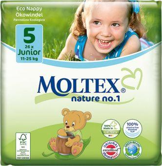 4er Pack 104 Stück MOLTEX Nature No1 Ökowindeln BÄR Babywindeln JUNIOR Gr 5 (11-25 kg) 4 x 26 Stück