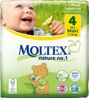 4er Pack 120 Stück MOLTEX Nature No1 Ökowindeln BÄR Babywindeln MAXI Gr 4 (7-18 kg) 4 x 30 Stück