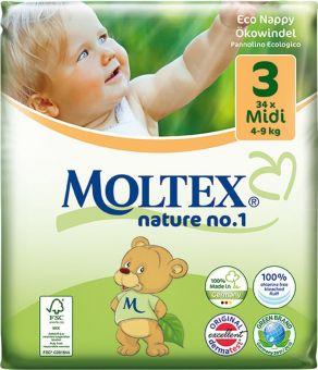 4er Pack 136 Stück MOLTEX Nature No1 Ökowindeln BÄR Babywindeln MIDI Gr 3 (4-9 kg) 4 x 34 Stück