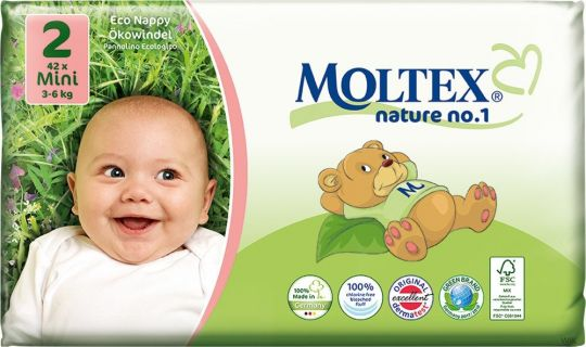 42 St. MOLTEX Nature No1 Ökowindeln BÄR Babywindeln MINI Gr 2 (3-6 kg)