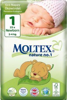 23 St. MOLTEX Nature No1 BÄR Ökowindeln Babywindeln NEWBORN Gr 1 (2-4 kg)
