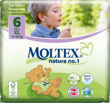 6er Pack 132 Stück MOLTEX Nature No1 BÄR Ökowindeln Babywindeln XL Gr 6 (16-30 kg) 6 x 22 Stück