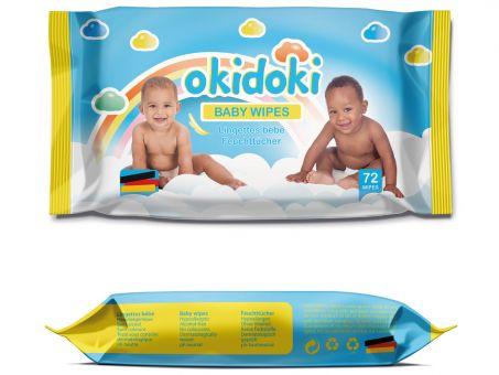 5er Pack Okidoki Feuchttücher Baby wipes 72 St.hypoalergen dermatologisch testet