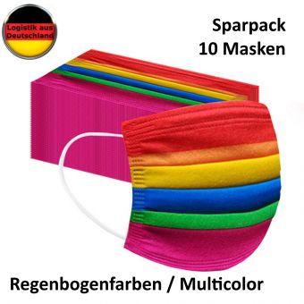 10 St Alltagsmasken Mundschutz Atemschutzmaske Regenbogen OPMaske Gesichtsmaske Filtermaske