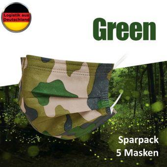 5 St Alltagsmasken Mundschutz Atemschutzmaske Camouflage GRÜN OPMaske Gesichtsmaske Filtermaske