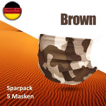 5 St Alltagsmasken Mundschutz Atemschutzmaske Camouflage BRAUN OPMaske Gesichtsmaske Filtermaske