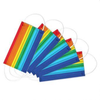 10x Atemschutzmaske Regenbogen KINDER Mundschutz OP Maske Gesichtsmaske Filterma