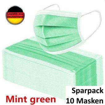 10 St. Atemschutzmaske Mintgrün Mundschutz OP Maske Gesichtsmaske Filtermaske Einweg 3 Lagig