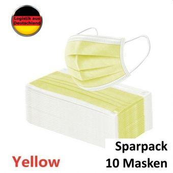 10 St. Atemschutzmaske Gelb Mundschutz OP Maske Gesichtsmaske Filtermaske Einweg 3 Lagig