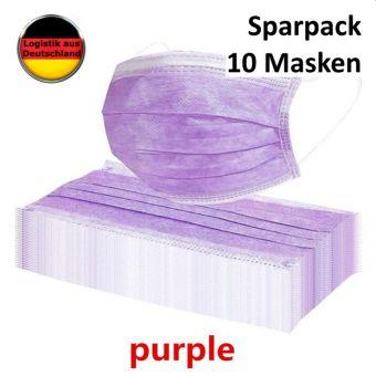 10 St. Atemschutzmaske LILA  Mundschutz OP Maske Gesichtsmaske Filtermaske Einweg 3 Lagig