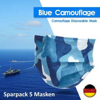 5 St Atemschutzmaske Camouflage BLAU Mundschutz OP Maske Gesichtsmaske Einweg 3 Lagig