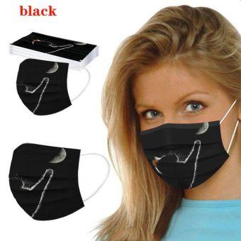 5 St. Atemschutzmaske Katze schwarz Mundschutz OP Maske Gesichtsmaske Einweg 3 Lagig