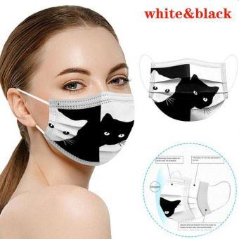 5 St Alltagsmaske Katze SCHWARZ WEISS Mundschutz OPMaske Gesichtsmaske Einweg