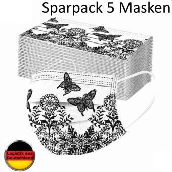 5 St. Alltagsmaske Schmetterling weiß Mundschutz OP Maske Gesichtsmaske Einweg 3 Lagig